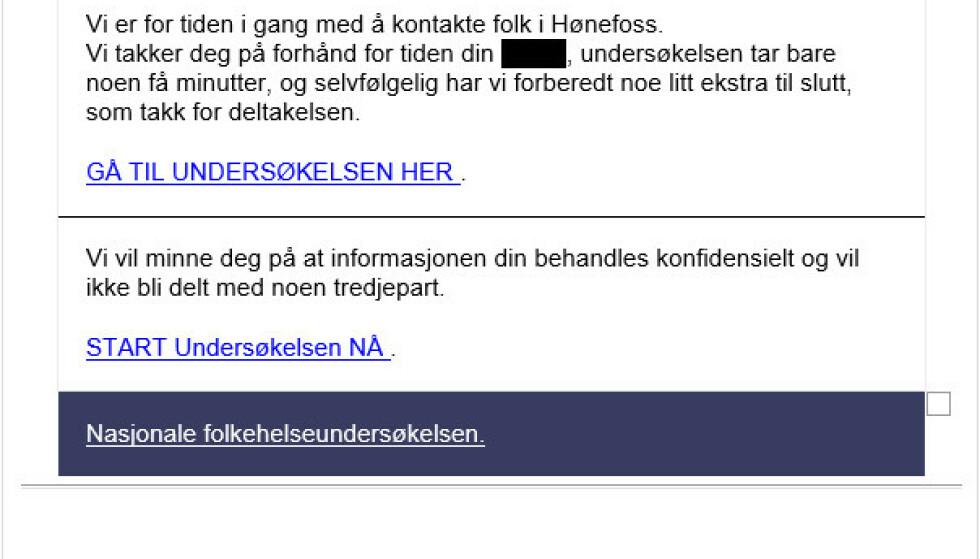 Falsk e-post som kan se ut som om den er en undersøkelse fra Folkehelseinstituttet. Undersøkelsen ender med en premie som kun koster frakt, og deretter blir man trukket et større beløp. Foto: Printscreen /FHI / NTB