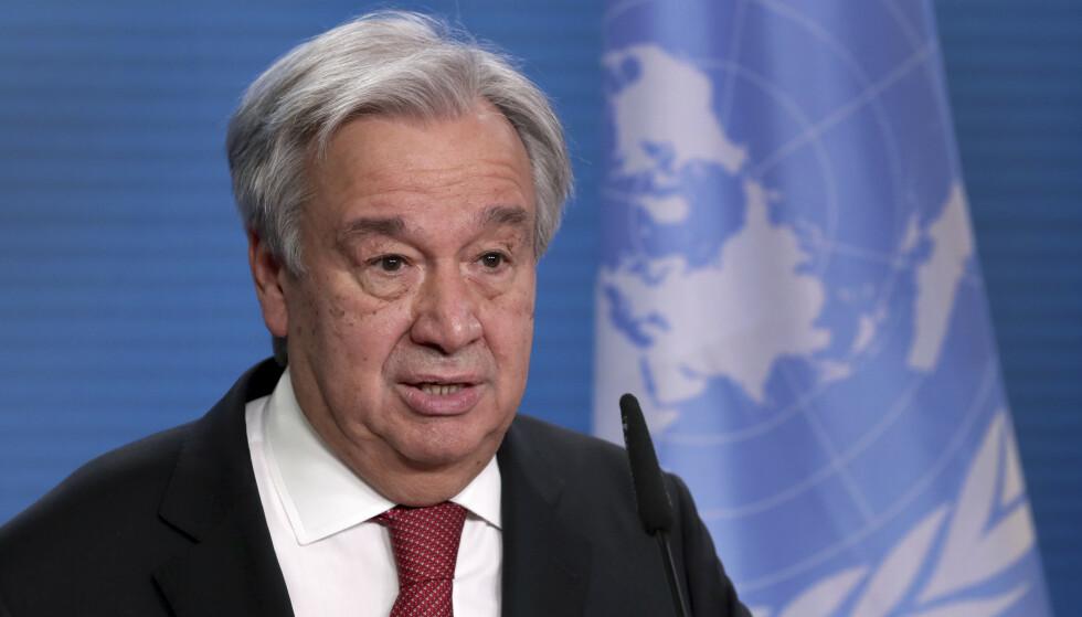 Nasjoner må forplikte seg til å være klimanøytrale innen 2050, sa FNs generalsekretær António Guterres mandag. Denne uken starter et klimatoppmøte som USA har tatt initiativ til. Foto: Michael Sohn / AP / NTB