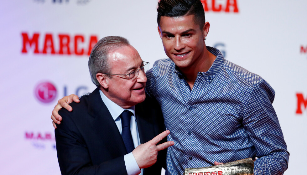 Real Madrid-president Florentino Pérez sammen med Ronaldo. (Foto: Reuters/NTB)