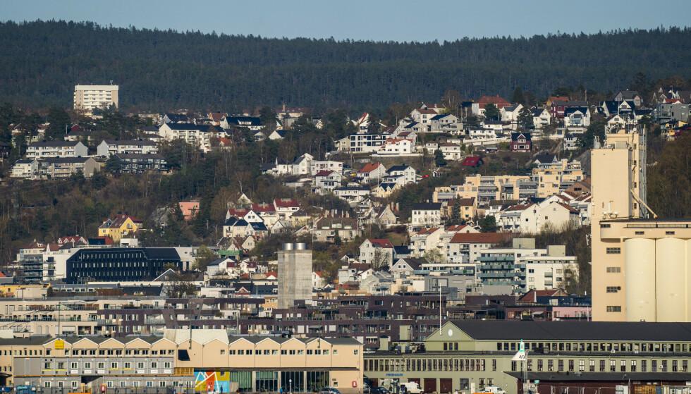 Bebyggelse øst i Oslo sett fra Bygdøy. Vippetangen nederst, Sørenga og Ekebergskrenten. Foto: Håkon Mosvold Larsen / NTB