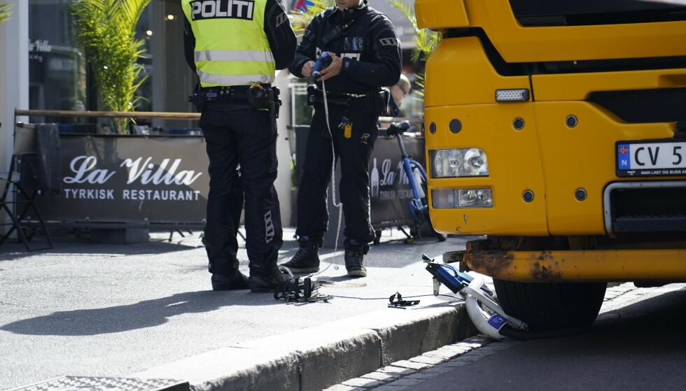 En kvinne på bysykkel ble i juni i fjor påkjørt av en lastebil på Grønland i Oslo. Nå er lastebilsjåføren dømt til fengsel. Foto: Gorm Kallestad / NTB