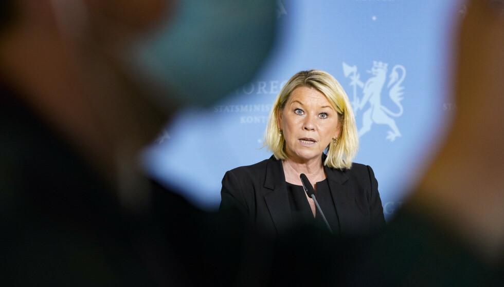 Justis- og beredskapsminister Monica Mæland på pressekonferanse om koronasituasjonen onsdag. Foto: Gorm Kallestad / NTB