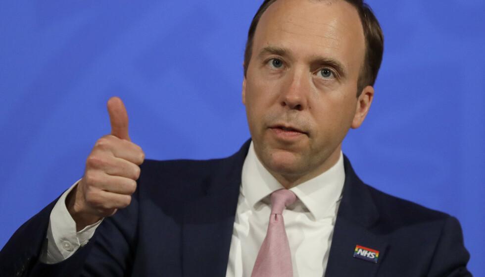 Storbritannias helseminister Matt Hancock møtte pressen i London onsdag. Foto: Kirsty Wigglesworth / AP / NTB