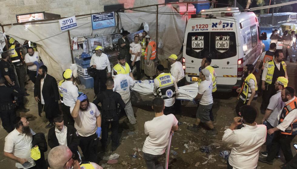 Minst 44 personer døde er døde etter en ulykke under en jødisk feiring ved fjellet Meron nord i Israel fredag. Foto: AP / NTB