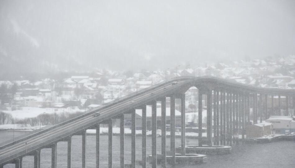 Det blir noe snø i Tromsø og områdene rundt den kommende helgen. Foto: Rune Stoltz Bertinussen / NTB