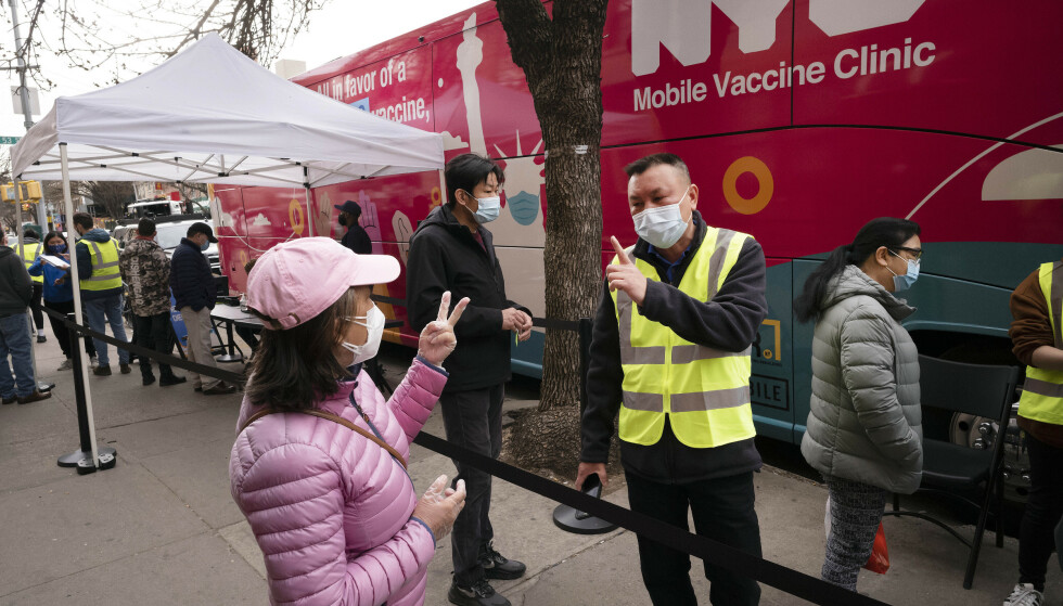 New York har allerede utplassert en rekke mobile vaksinestasjoner, der byens egne innbyggere kan bli vaksinert mot covid-19. Foto: Mark Lennihan / AP / NTB