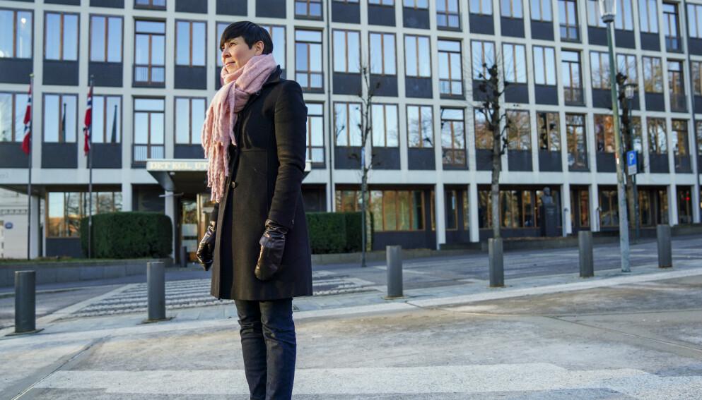 Aftenposten og andre medier etterforskes for å ha omtalt et dokument de ikke skulle hatt tilgang til fra Utenriksdepartementet, her ved utenriksminister Ine Eriksen Søreide (H) Foto: Fredrik Hagen / NTB
