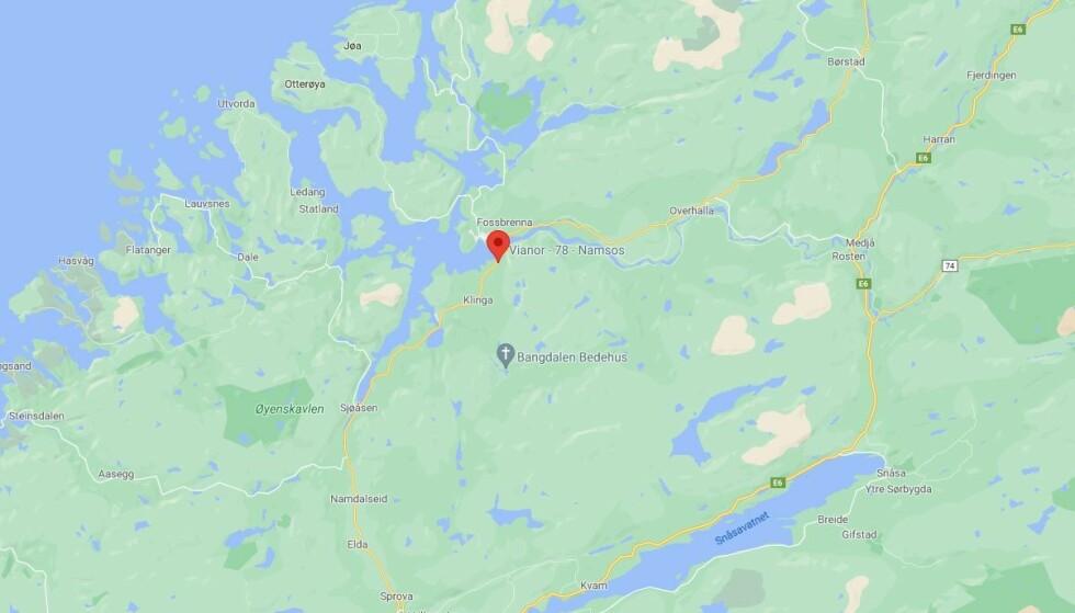 Mannen som er pågrepet etter at et hus brant ned ved Namsos, er en kjenning av politiet. Foto: Skjermdump Google Maps