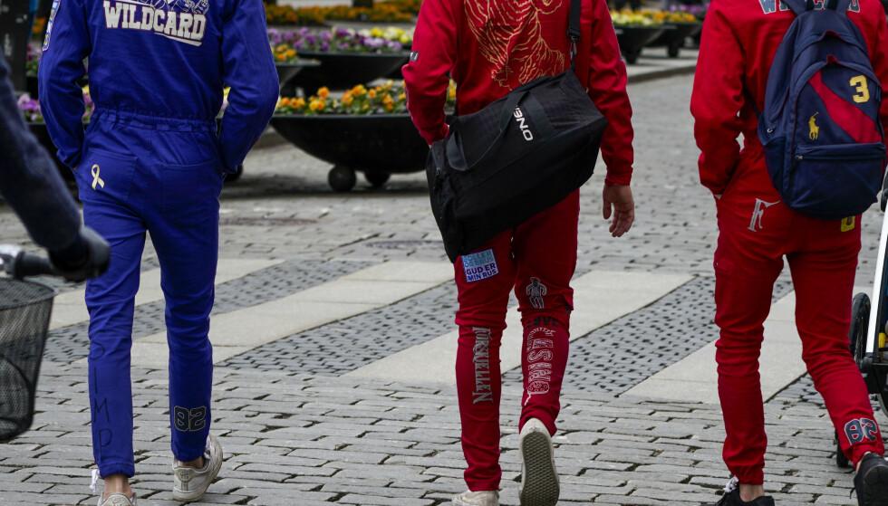 Oslo 20210511.  Russ på Karl Johans gate. Foto: Lise Åserud / NTB