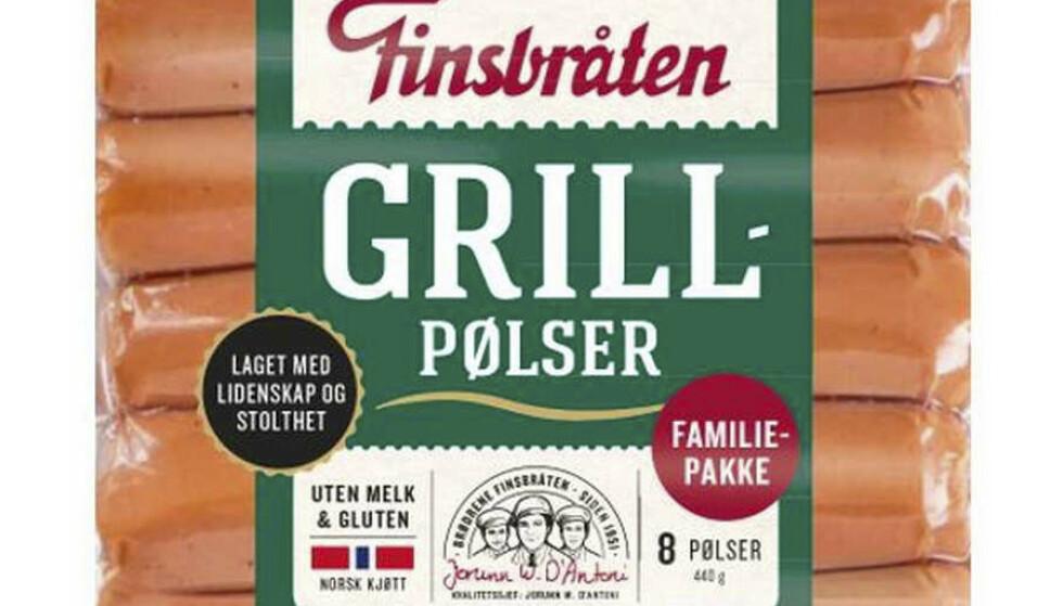 Finsbråten trekker tilbake produktet grillpølse 3 pk. med siste forbruksdag 24.05. 2021. Årsaken er udeklarert melk. Foto: Finsbråten / NTB