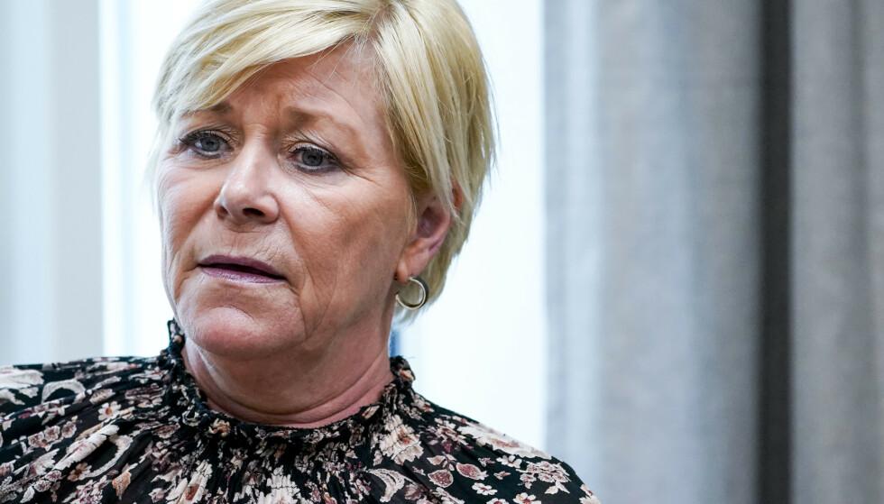 Siv Jensen har selv innrømmet brudd på coronareglene under 17. mai-feiringen hjemme hos sin mor. Foto: Lise Åserud / NTB