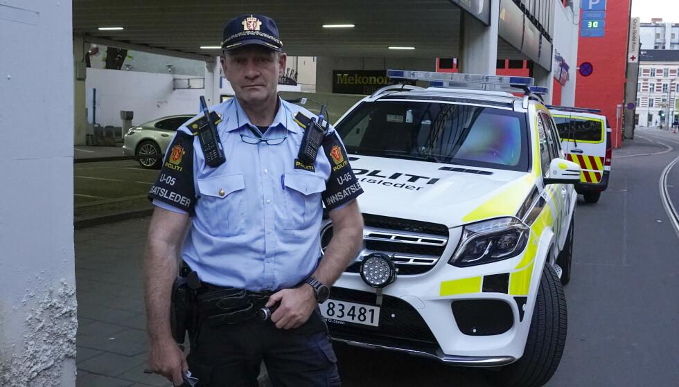 – Fornærmede var bevisst da politiet ankom, opplyser politiets innsatsleder Tore Barstad. Foto: Lise Åserud/NTB