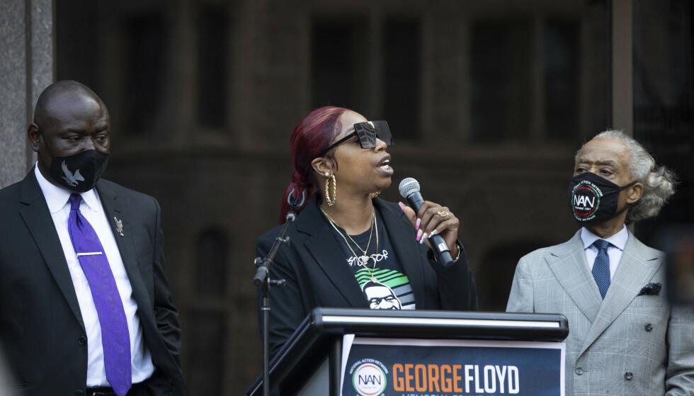 George Floyds søster Bridgett Floyd holdt tale foran de fremmøtte søndag. Foto: Christian Monterrosa / AP / NTB