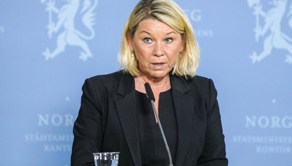 Justisminister Monica Mæland (H) opplyser at norske studenter i utlandet ikke må betale egenandel ved et eventuelt opphold på karantenehotell. Foto: Gorm Kallestad / NTB