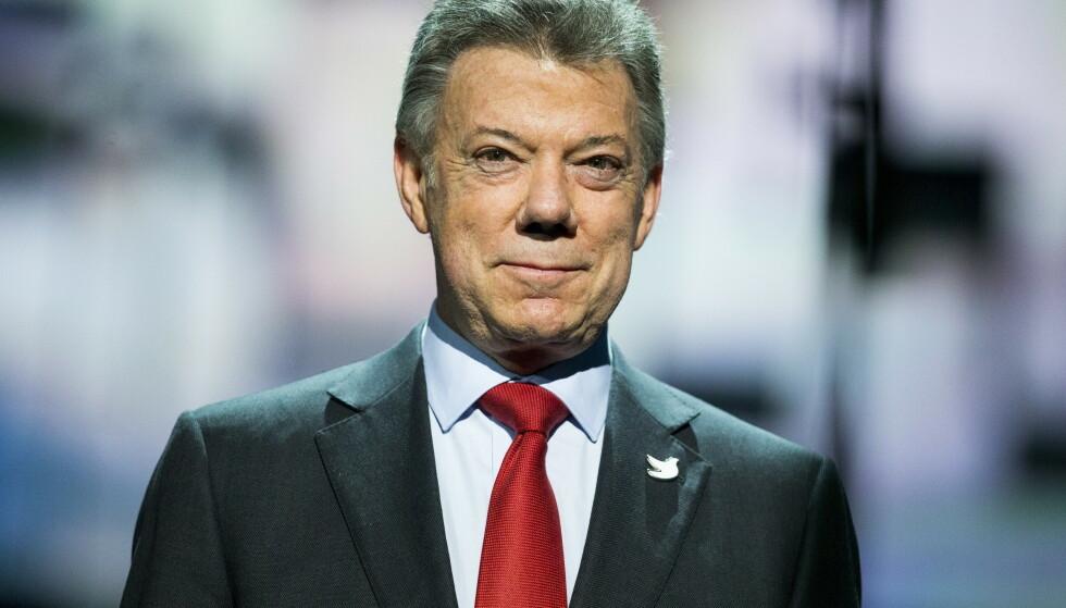 Fredsprisvinner Juan Manuel Santos forklarte seg for landets sannhetskommisjon fredag. Her under nobelprisutdelingen i desember 2016. Arkivfoto: Vegard Wivestad Grøtt / NTB