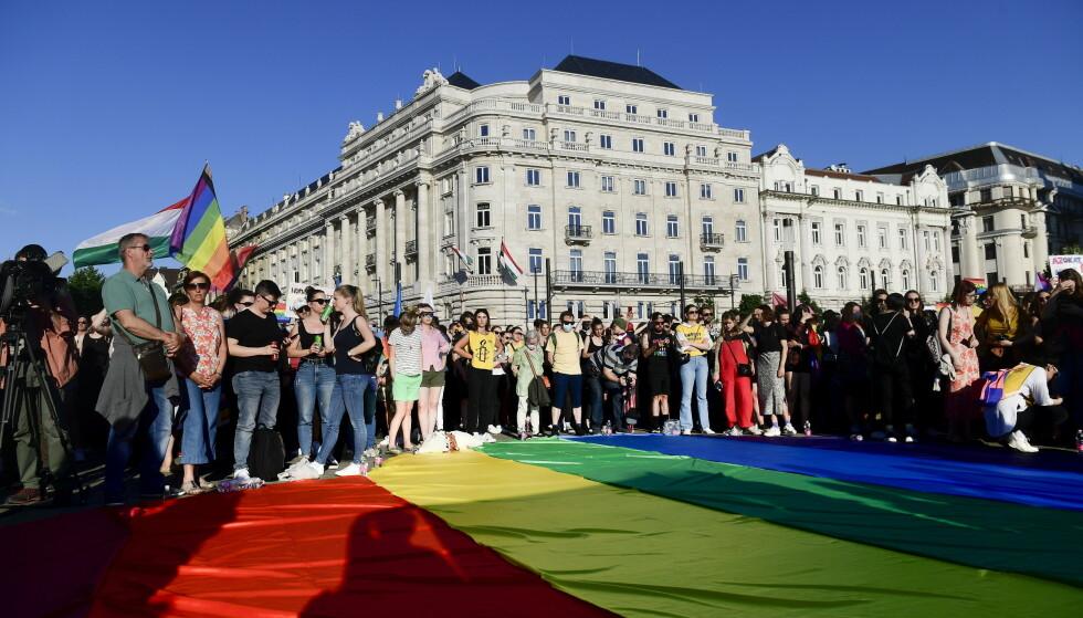 Det var store demonstrasjoner utenfor nasjonalforsamlingen i Budapest mandag, dagen før loven som blant annet forbyr «promotering av homofili», ble vedtatt. EU sier loven vekker bekymring. Foto: Szilard Koszticsak / MTI via AP / NTB