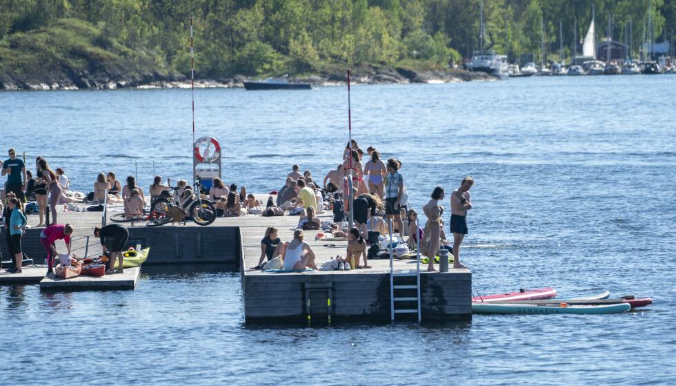 Sørenga i Oslo er et populært badested, her fra en solskinnsdag i slutten av mai. Foto: Terje Pedersen / NTB