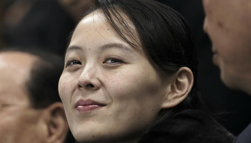 Kim Yo-jong, her under en ishockeykamp i Sør-Korea i 2018. Yo-jong, som er søsteren til Nord-Koreas leder Kim Jong-un, avviser antydninger om dialog med USA. Foto: Felipe Dana / AP / NTB
