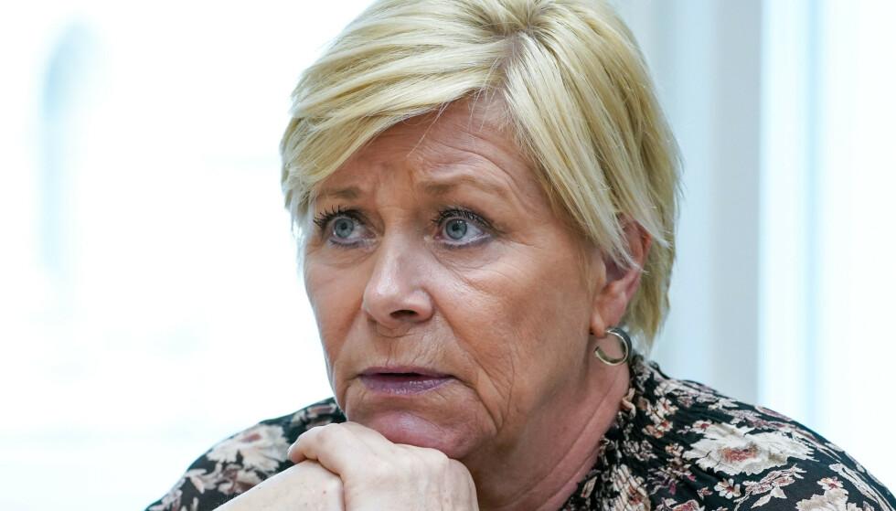 Siv Jensen etterforskes fremdeles av politiet i Oslo for brudd på koronareglene. Foto: Lise Åserud / NTB