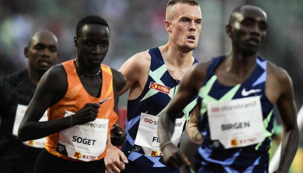 Filip Ingebrigtsen i aksjon på 3000 meter under Bislett Games. Foto: Annika Byrde / NTB.