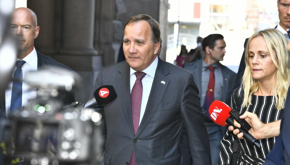 Sweden's Prime Minister Stefan Lofven arrives at the Parliament in Stockholm, Sweden, Tuesday June 29, 2021. (Claudio Bresciani / TT via AP)