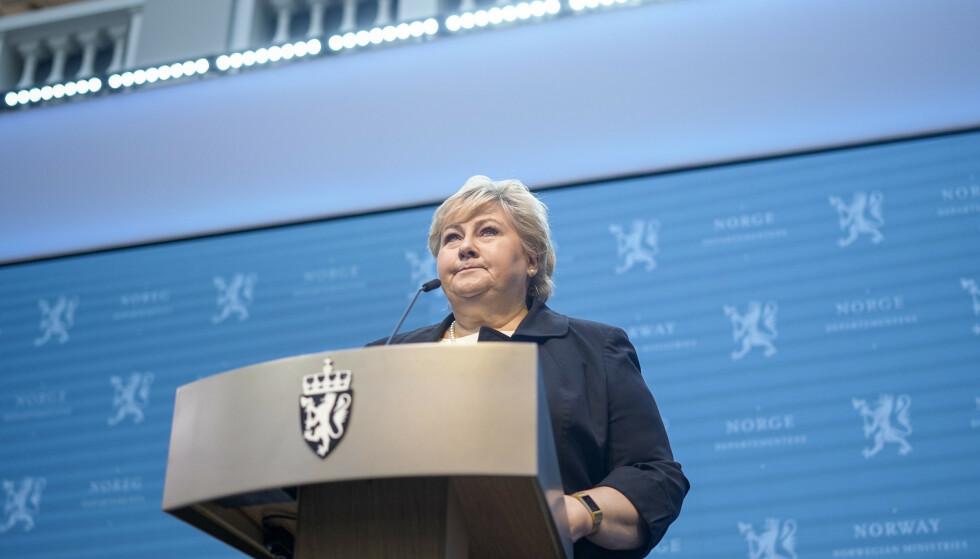 Statsminister Erna Solberg (H) på en tidligere pressekonferanse om gjenåpningen av Norge. Foto: Fredrik Hagen / NTB