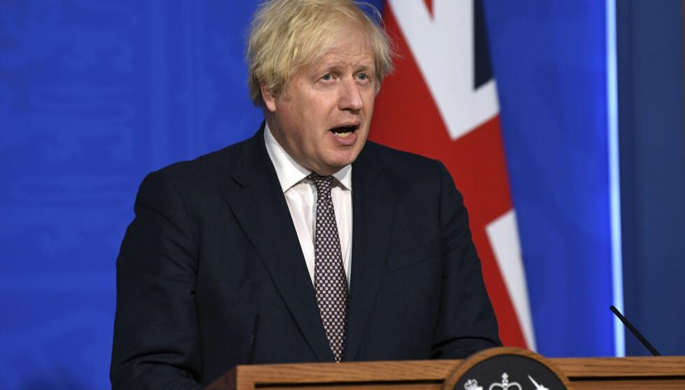 Statsminister Boris Johnson varsler gjenåpning av Storbritannia 19. juli. Foto: AP / NTB