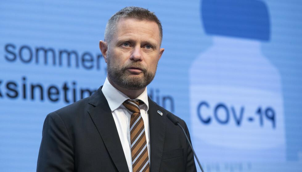 Helse- og omsorgsminister Bent Høie, under pressekonferanse om coronasituasjonen.Foto: Berit Roald / NTB