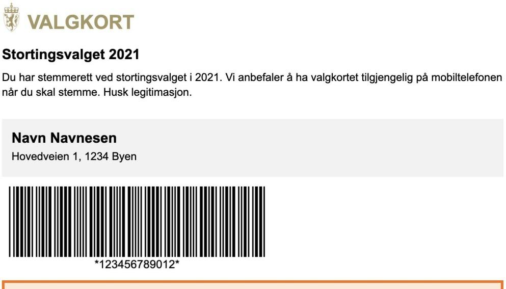 DIGITALT VALGKORT: Slik vil det digitale valgkortet se ut. Foto: Skjermdump Valgdirektoratet.