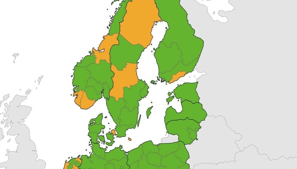 ECDC sitt smittekart viser at flere fylker i Norge er oransje.