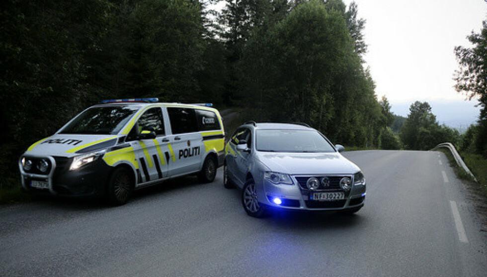 En død kvinne ble funnet i terrenget i Skien torsdag kveld. Foto: Theo Aasland Valen / NTB.