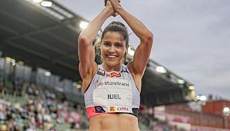 Amalie Iuel konkurrerer i 400m hekk kvinner under Bislett Games 2021.Foto: Fredrik Hagen / NTB