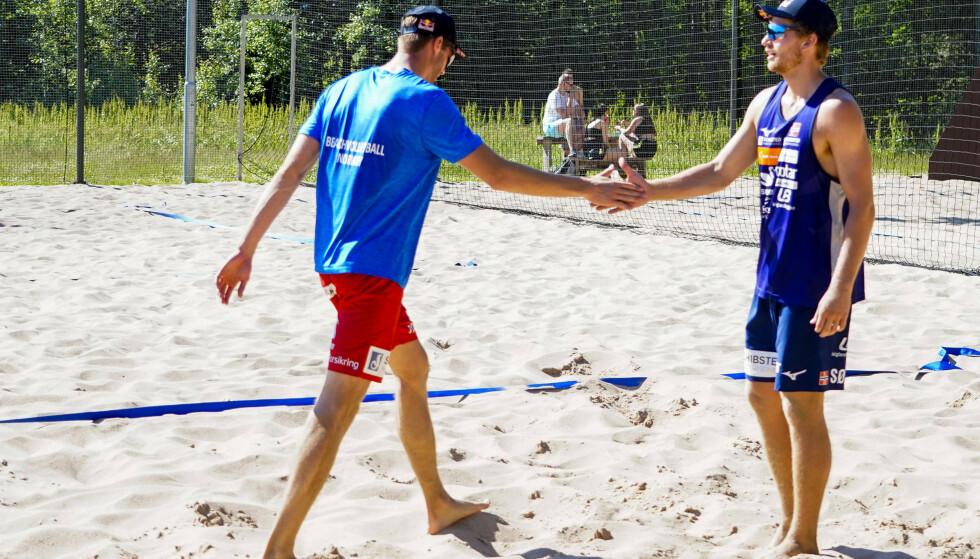 I sandvolleyball er det også tid for semifinale for Mol og Sørum. Foto: Terje Pedersen / NTB
