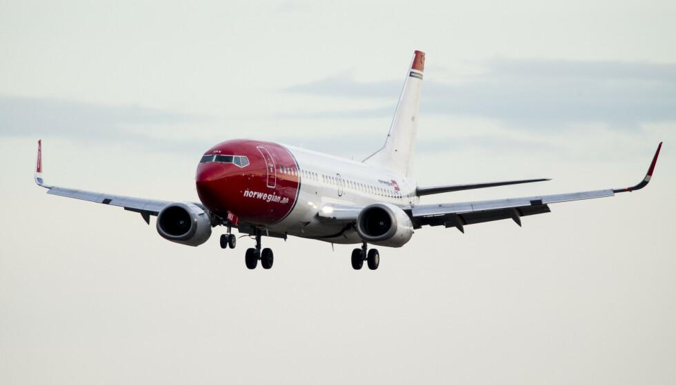 Et fly fra Norwegian går inn for landing på Gardermoen. Illustrasjonsfoto: Erlend Aas / NTB