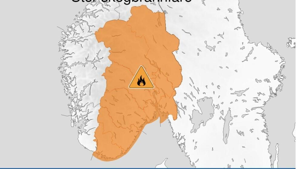 Kart over stor skogbrannfare, oransje nivå, Østafjells, 23 July 05:00 UTC til 26 July 22:00 UTC. Skjermdump Meteorologisk Institutt
