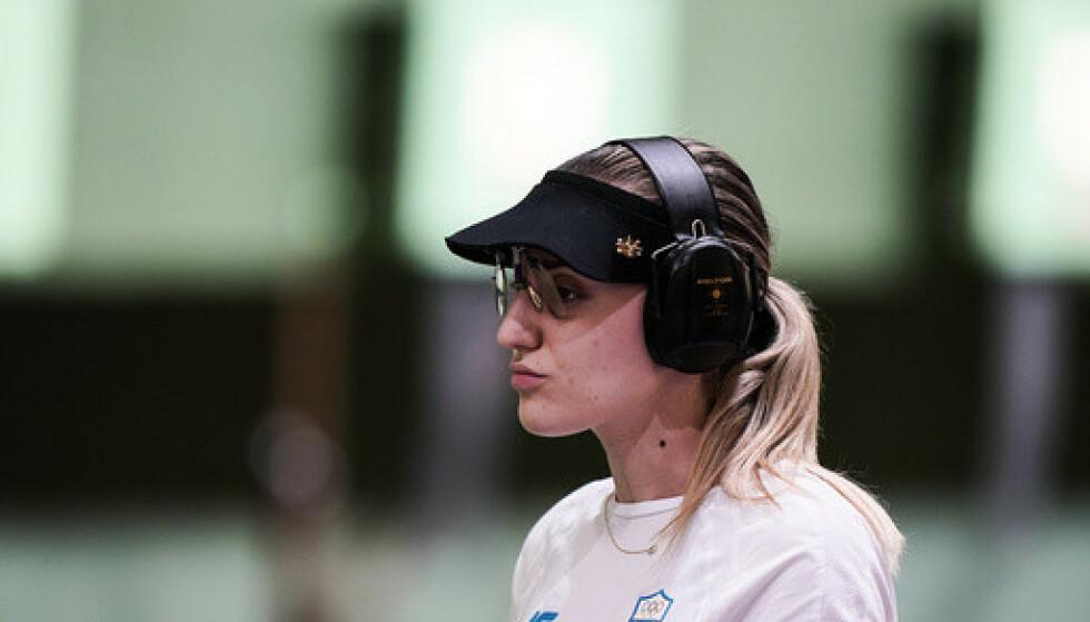 Anna Korakaki måtte tåle sterk kritikk fra programleder Dimosthenis Karmoiris. Foto: AP Photo / Alex Brandon / NTB.