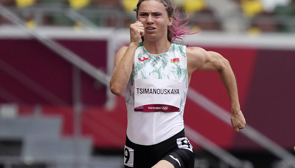 Krystsina Tsimanouskaja løp 100 meter i OL fredag. Nå skal hun angivelig ha blitt forsøkt kidnappet av det hviterussiske OL-laget. Foto: Martin Meissner / AP / NTB.