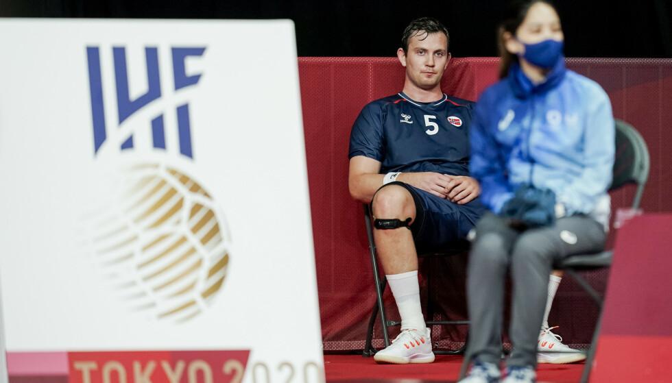 Sander Sagosen etter at han fikk rødt kort i OL-kvartfinalen mot Danmark. Foto: Stian Lysberg Solum/NTB