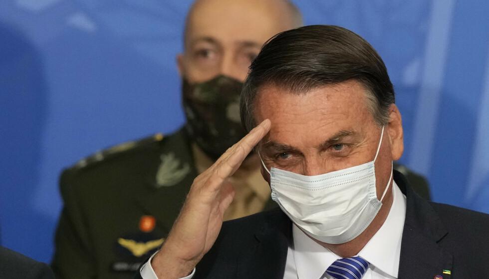 Brasils høyesterett beordrer etterforskning av president Jair Bolsonaro over hans angrep på landets valgsystem. Foto: Eraldo Peres/AP/NTB