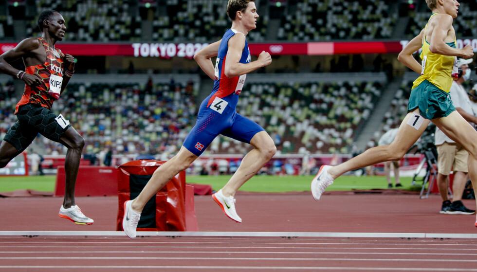 Jakob Ingebrigtsen vant OL-gull på 1500 meter lørdag. Foto: Lise Åserud/NTB