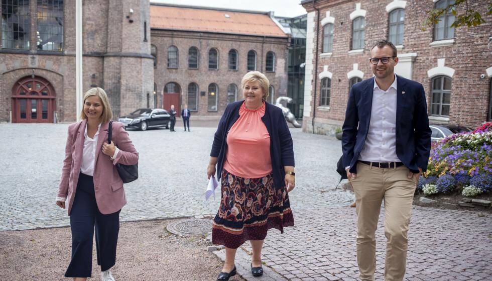 Statsminister Erna Solberg (H), Venstre-leder Guri Melby og KrF-ledet Kjell Ingolf Ropstad (KrF) var torsdag samlet til regjeringskonferanse i Oslo. Foto: Javad Parsa / NTB
