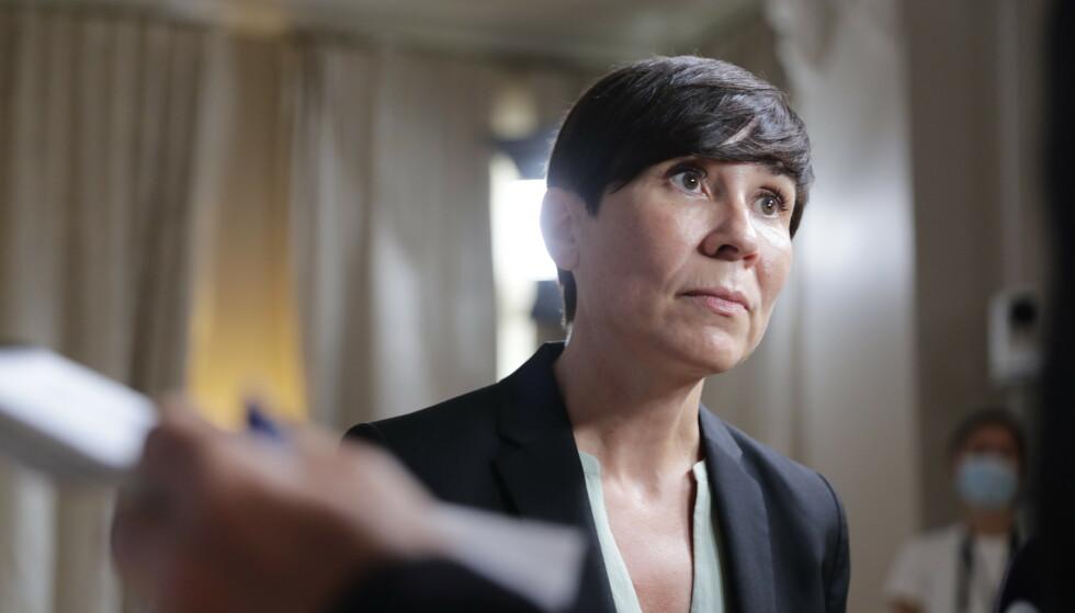 Utenriksminister Ine Eriksen Søreide på et pressemøte om situasjonen i Afghanistan tidligere denne uken. Foto: Berit Roald / NTB / POOL