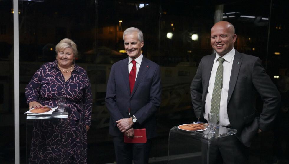 Statsministerdebatt fra Arendal. Erna Solberg, Jonas Gahr Støre og Trygve Slagsvold Vedum deltar på TV2s statsministerdebatt. Foto: Ole Berg-Rusten / NTB