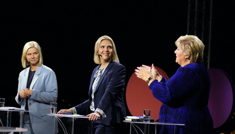 Kommentatorene var delvis svært uenige om partiledernes innsats. Mens TV 2 ga Frp-leder Sylvi Listhaug terningkast én, fikk hun en femmer av VG og ble dermed debattens vinner sammen med SV-leder Audun Lysbakken. Foto: Ole Berg-Rusten / NTB