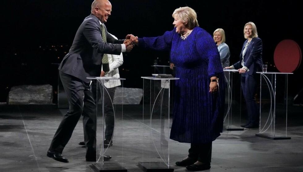 Trygve Slagsvold Vedum (Sp) og Erna Solberg (H) i partilederdebatten. Foto: Ole Berg-Rusen / NTB scanpix