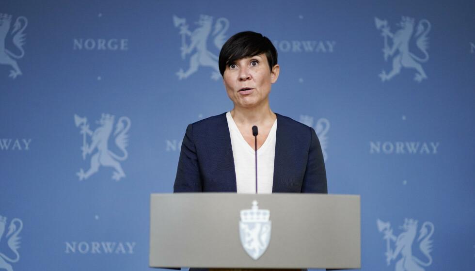 Utenriksminister Ine Eriksen Søreide på en pressekonferanse om evakuering av personell fra Afghanistan. Foto: Håkon Mosvold Larsen / NTB / POOL
