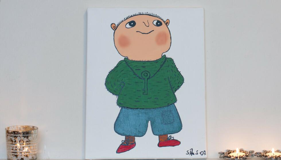 En tegning av Albert Åberg på Statens barnehus på Hamar i 2011. Akrivfoto: Jo E. Brenden / NTB