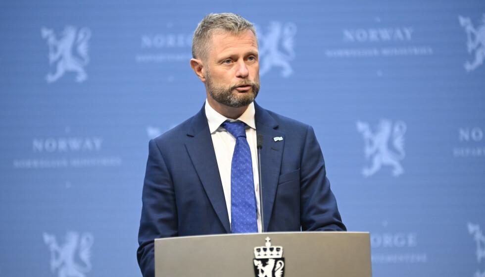 Helse- og omsorgsminister Bent Høie under en pressekonferanse.Foto: Annika Byrde / NTB