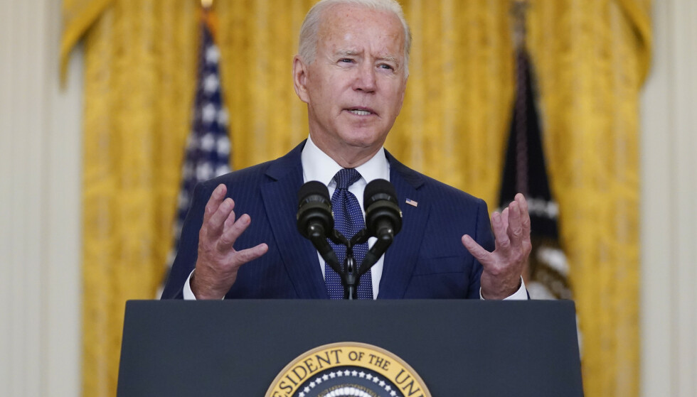 President Joe Biden holdt en pressekonferanse torsdag kveld etter angrepene i Kabul. Evan Vucci / AP / NTB