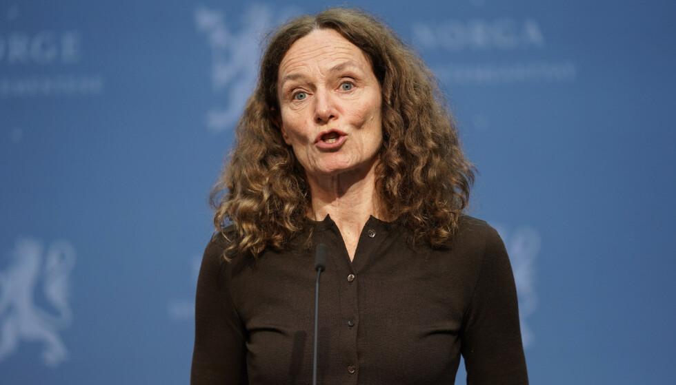 Direktør i Folkehelseinstituttet Camilla Stoltenberg til stede under en pressekonferanse om coronasituasjonen.Foto: Ali Zare / NTB